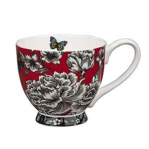 """Portobello """"de mariposas y flores de blanco"""" de porcelana taza con base"""