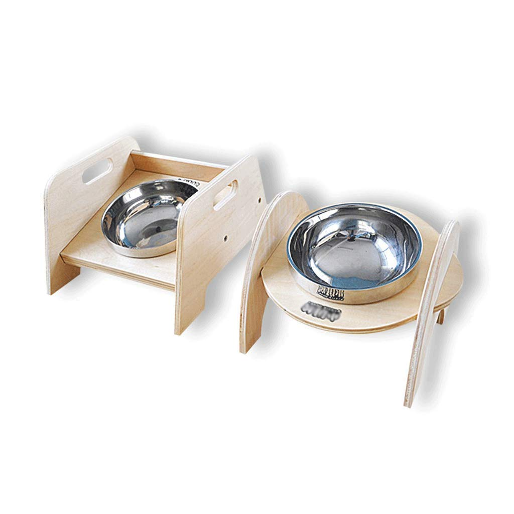 2PSC Stainless Steel Non-Slip Dog Cat Food Bowl Wooden Pet Feeding Tool Travel Dog Feeder Pet Supplies