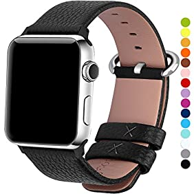 Apple Watch Bands 42mm, Fullmosa Yan Series Lichi Calf Leather Replacement Band/Strap with Stainless Steel Clasp for Apple iWatch Series 1 & 2 Sport and Edition Versions 2015 2016, Black
