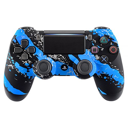eXtremeRate Blue Coating Splash Faceplate Cover for PS4 Pro Slim Controller, Front Housing Shell Case for Playstation 4 Remote, Soft Touch Replacement Kit for Dualshock 4 Controller (Faceplate Cover Case Blue Clip)