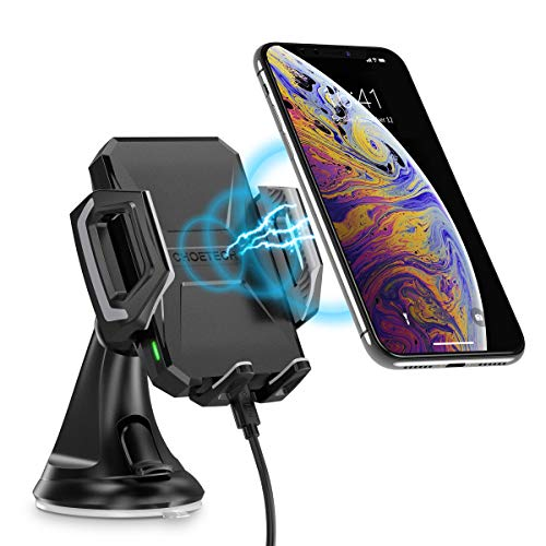 CHOETECH Wireless Car Charger, 10W/7.5W Qi Wireless Fast Charging Car Mount, USB-C Dashboard Stand Phone Holder Compatible with iPhone XS/XS Max/XR/X/8/8+, Samsung S10/S10+/Note 9/S9/S9+/S8/S8+, Lumia