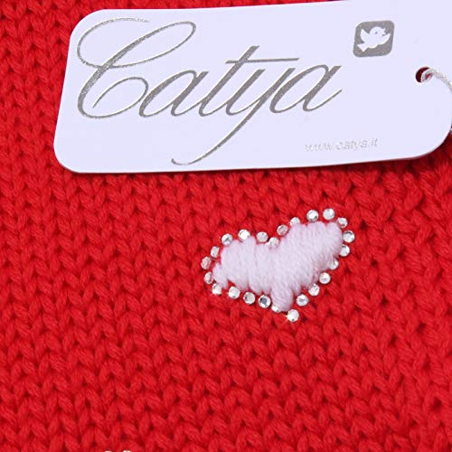 3768y Sciarpa Girl bianco Wool Bimba Catya Rosso white Red Scarf dfBx4d