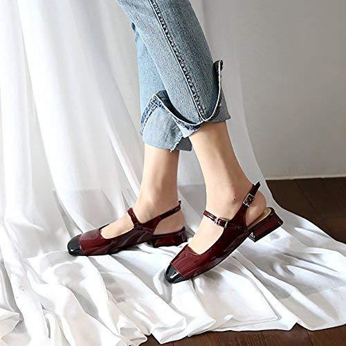 Planos Baotou Del Color Partido Corte Silvestres Cuadrados Hhgold 38 De Charol Después Zapatos Femeninos Aire Individuales wvqAWY6fI