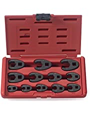 Neiko 03323A 3/8-Inch and 1/2-Inch Drive SAE Crowfoot Wrench Set, CR-MO, 12-Piece