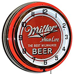 Miller High Life The Best Milwaukee Beer Sign 18 Red Double Neon Clock Pub Bar Decor