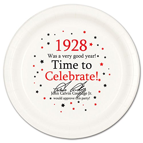 (1928 Birthday Dinner Plate (8 Count) by Partypro )