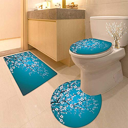 HuaWuhome 3 Piece Extended Bath mat Set Beautiful Cherry Blossom Sakura in Spring time Over Blue Sky Increase