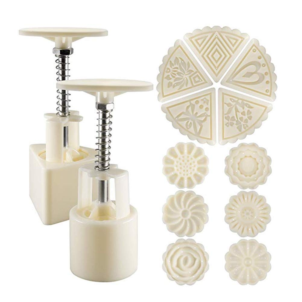 GEF Moon Cake Mold, 2 Sets Mooncake Mold Press 50g with 11 Stamps, Flower and Triangle Shape Decoration Tools for Baking DIY Cookie - White