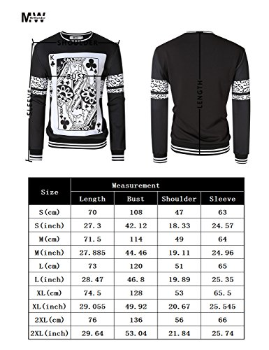MrWonder Men's Casual 3D Digital Pullover Sweatshirt Long Sleeve Playing Cards Poker Printing Sweatshirts Black L