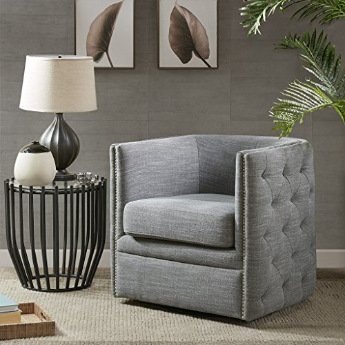 Madison Park MP103-0242 Capstone Swivel Chair – Solid Wood, Plywood, Metal Base Accent Armchair Modern Classic Style Family Room Sofa Furniture, Slate