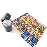 Piokio 2 Rolls Wide Black Road Tape for Car Toys, BONUS 112 Traffic Signs Stickers for Kids Birthday Party Gift
