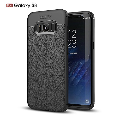 Samsung Galaxy S8 Case, DiDicose Lightweight Thin [1.5 mm] Carbon Fiber Scratch Resistant Shock Absorption Premium PU Leather Flexible Soft Anti Slip TPU Protective Cover For Samsung Galaxy S8 Black