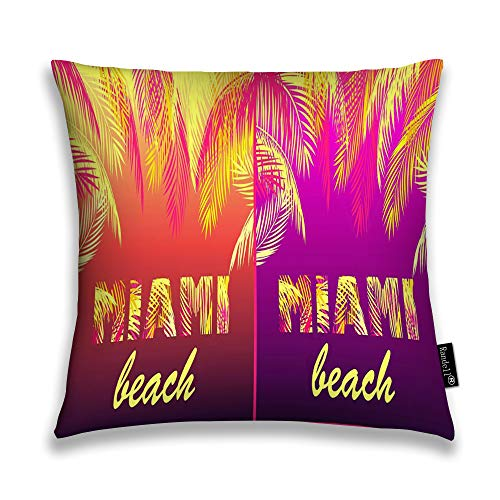 Randell Throw Pillow Covers Party Variation Miami Beach Yellow Pink Palm Leaves Neon N Home Decorative Throw Pillowcases Couch Cases 16
