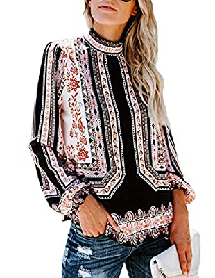 Womens Vintage Floral Print Long Sleeve T Shirts Casual Blouses Tops