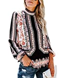 Women Long Sleeve Hollow Out V Neck Shirts Floral Print Tops Long Blouse Tee White,S
