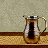 Old Dutch Hammered Water Pitcher with Brass Ice Guard and Handle, 21/4 qt., Copper