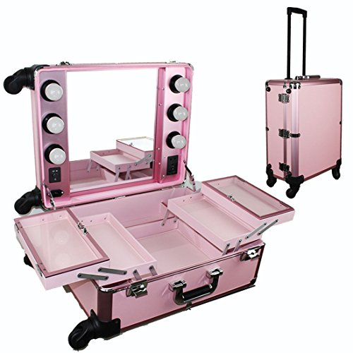 Chende Pink Pro Studio Artist Train Rolling Makeup Case with Light Wheeled Organizer (Pink)