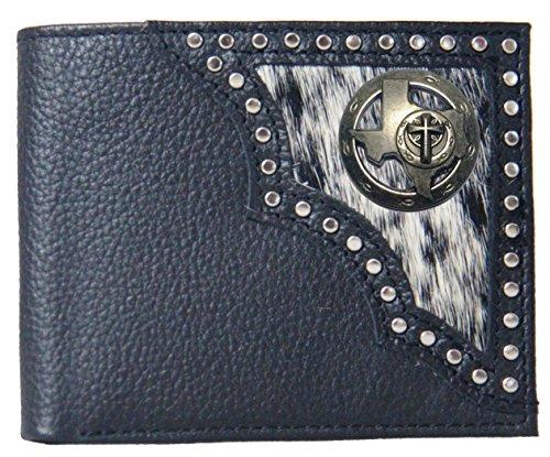 on Hide Hair Texas Custom Wallet fold Christian Bi Black Black UwwxqF0