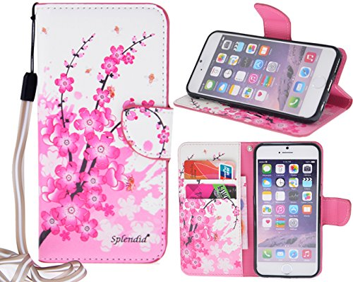 Splendid(TM); iPhone 6s plus case, fancy pink colorful cherry blossom flower pattern stylish design pu leather pink wallet case with strap credit/ ID card money slots. (Cherry Blossom i6s (Fancy Blossoms)