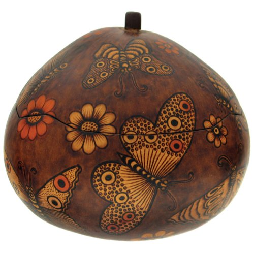 Gourd Butterfly Box Hand Carved Peru