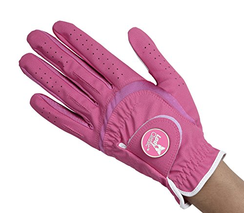 (Lady Classic Women's Soft Flex Gloves with Magnetic Ball Marker, Left Hand, Fuchsia,)