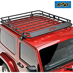 EAG 2/4 Door Roof Rack Cargo Basket W/Wind Deflector for 07-18 Jeep Wrangler JK