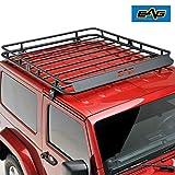 EAG 2/4 Door Roof Rack Cargo Basket W/Wind Deflector for 07-18 Jeep Wrangler JK