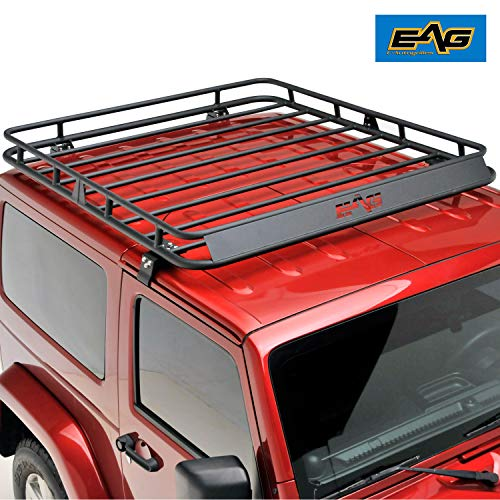 (EAG 2/4 Door Roof Rack Cargo Basket W/Wind Deflector for 07-18 Jeep Wrangler JK )