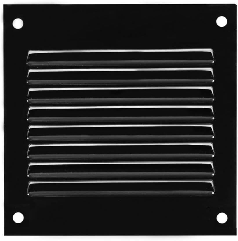Grille da/ération en m/étal avec moustiquaire Noir 100 x 100 mm