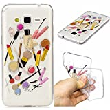 Qiaogle Phone Case - Soft TPU Silicone Case Cover Back Skin for Samsung Galaxy Grand Prime G530 (5.0 inch) - HC10 / Lip gloss + eyebrow pencil