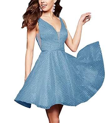 MEET V Neck Short Homecoming Dresses Sequin Aline Beaded Tulle Junior Formal Prom Gown Dusty Blue 10