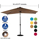 Sundale Outdoor Rectangular Solar Powered 22 LED Lighted Patio Umbrella Table Market Umbrella with Crank and Push Button Tilt for Garden, Deck, Backyard, Pool, 6 Alu. Ribs, 10 by 6.5-Feet (Tan)