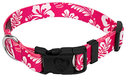 Country Brook Petz | Deluxe Hawaiian Dog Collar (Pink, Large)