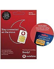 Vodafone 4G 15GB UK PAYG Trio Data SIM - Mobile Broadband -15GB + International Calling Card - (Love2surf RETAIL PACK)