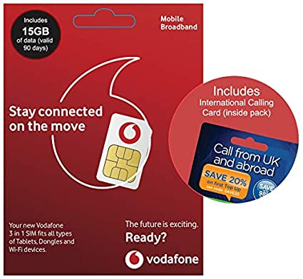 Vodafone Payg Top Up >> Vodafone 4g 15gb Uk Payg Trio Data Sim Mobile Broadband 15gb International Calling Card Love2surf Retail Pack