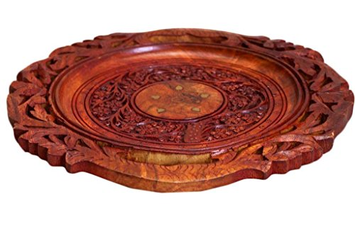 Wooden Beautiful Handmade Serving Round Plate Flower Design Carved Brass Inlay, Serving Tray Parties, Brown Color Decorative Tray 12 X 12 inch