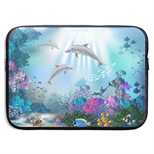 Dolphin Ocean Underwater Fish Coral Reef Laptop Sleeve Case Notebook Bag Protective Cover for 15 Inch Computer