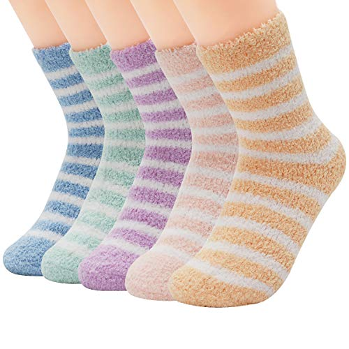 Century Star Womens Super Soft Fuzzy Cozy Home Sleeping Socks Microfiber Winter Warm Slipper Socks 5 Pairs Stripe One Size