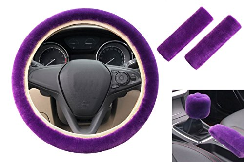 acdiac 5pcs/Set Universal Fuzzy Car Steering Wheel Cover&Seat belt cover&hand brake cover&Gear Shift Cover Set Car Seat Cover Anti-slip Winter Faux Wool car Interior Accessories (purple)