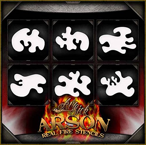Arson Real Fire Set AirSick Airbrush Stencil Template - Reusable Spray Painting Patterns for Cars, Motorcycle, Tatoos, etc