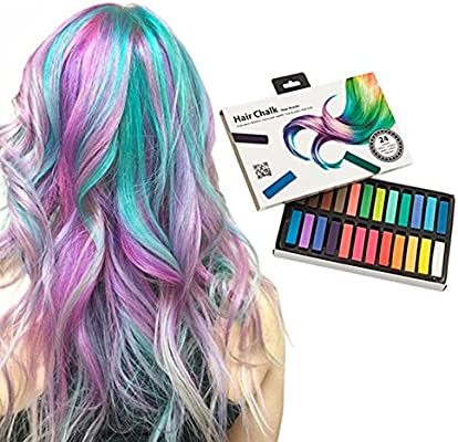 Shop Story – Pack de 24 tizas para el pelo – Coloración temporal sin tinte y no tóxicas – 24 colores: Amazon.es: Belleza