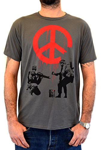"FACES Herren T-shirt Street Art BANKSY ""Soldiers Painting Peace "" Grau t-shirt Handserigraphie mit Wasser"