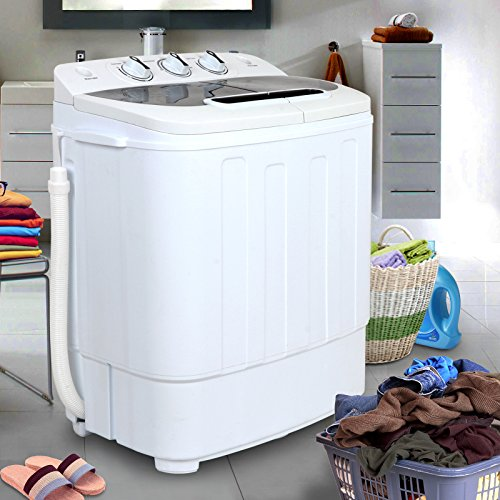 ZENY Compact Portable Mini Twin Tub Washing Machine Washer/ Spin Cycle Dryer Spinner/ Drain Pump, 13Lbs Capacity w/ Hose, Space/Time/Energy Saving