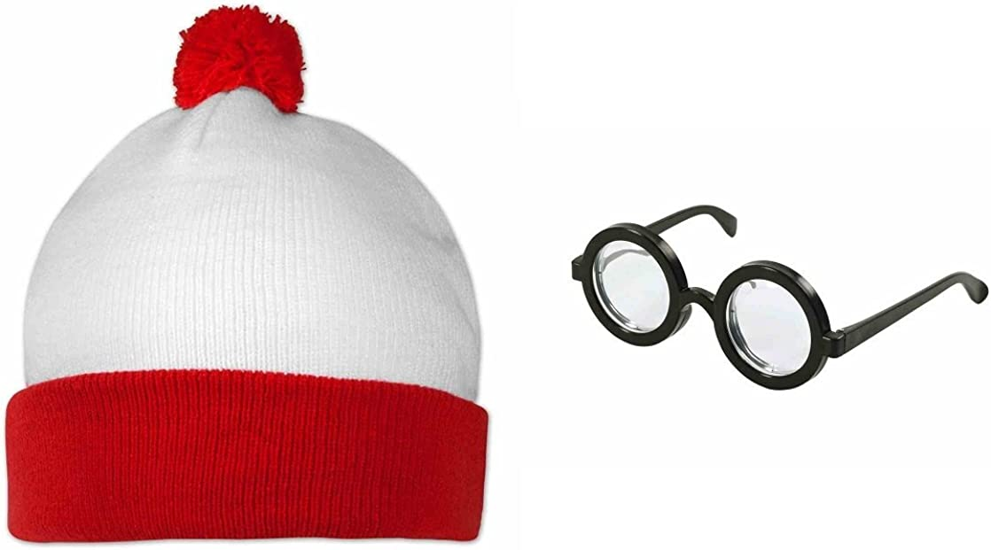 Wally estilo Dónde está mi disfraz rojo y blanco gorro y gafas ...