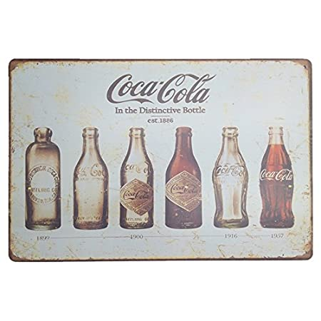 MARQUISE & LOREAN Coca Cola Placas Decorativas Pared Cocacola Chapas Vintage Metálicas Cocacola Elígeme (20 x 30 cm, Evolución Histórica)