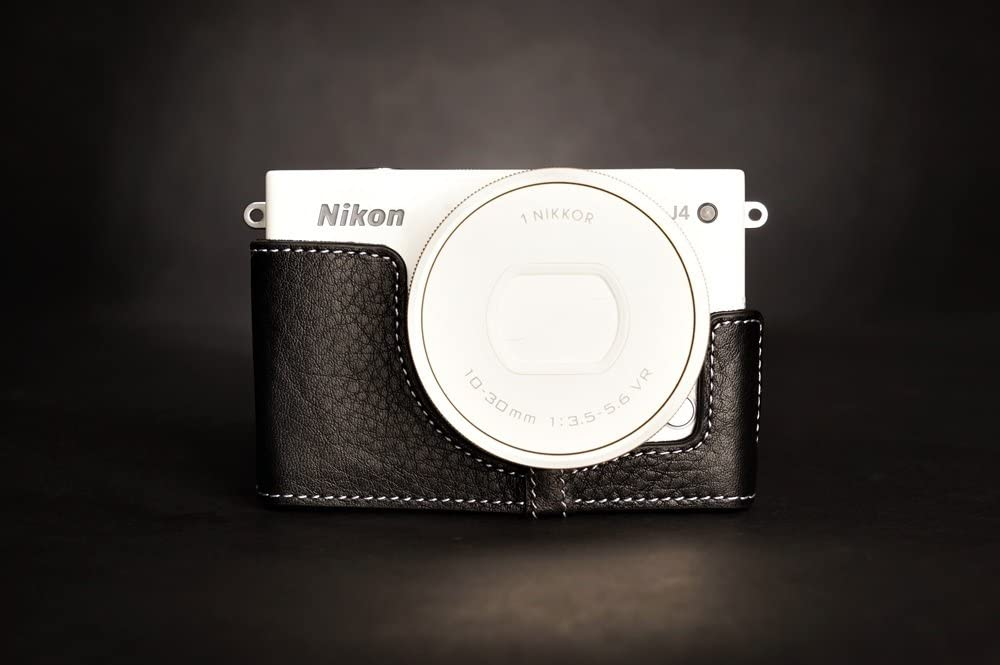 Handmade Genuine real Leather Half Camera Case bag cover for Nikon J4 Black Bottom opening Version