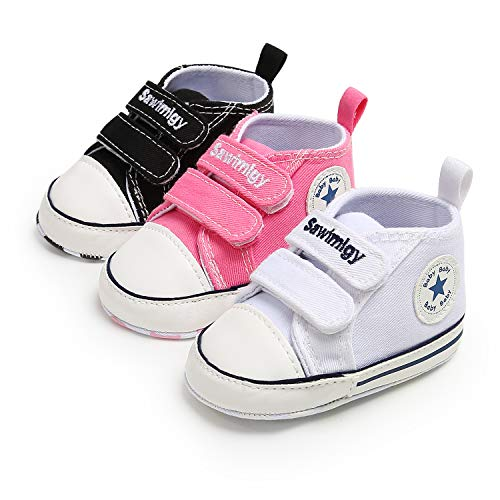 Save Beautiful Baby Girls Boys Canvas Sneakers Soft Sole High-Top Ankle Infant First Walkers Crib Shoes (6-12 Months Infant, F-Pink)