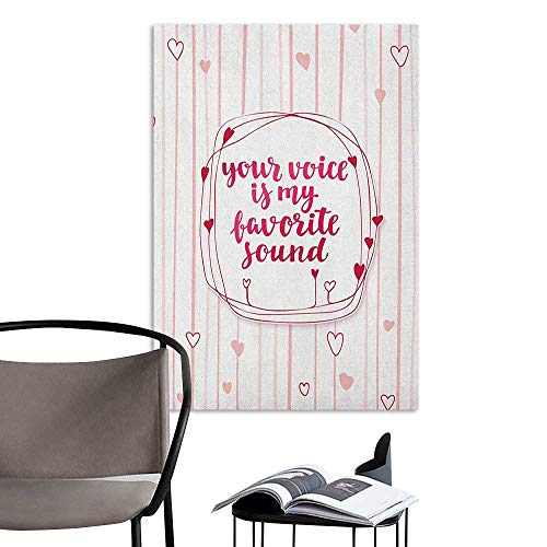 Stickers Wall Murals Decals Removable Love Valentines Day Quote with Hearts Frame on Vertical Lines Romantic Cute Calligraphy Pink Red Blush Bedroom Wall W16 x H20 ()