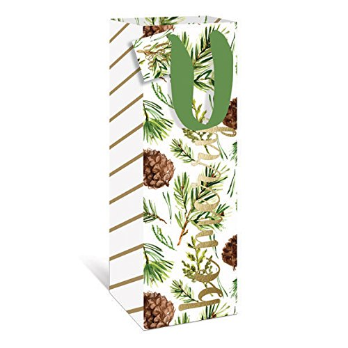 Graphique Watercolor Pinecones Wine Gift Bag - Holiday Gift Bag with Pinecone Design and