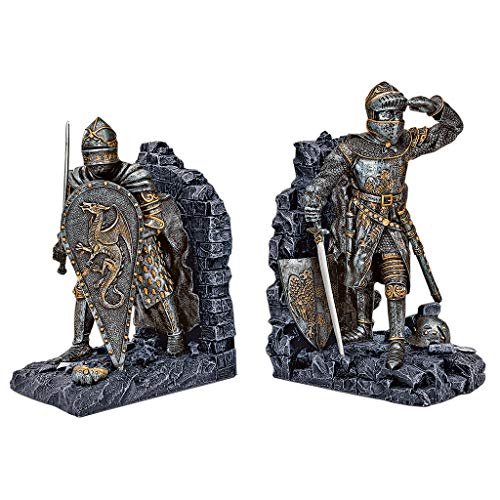 Design Toscano Arthurian Knight Medieval Decor Bookend Statues, 8 Inch, Set of Two, Polyresin, Grey Stone